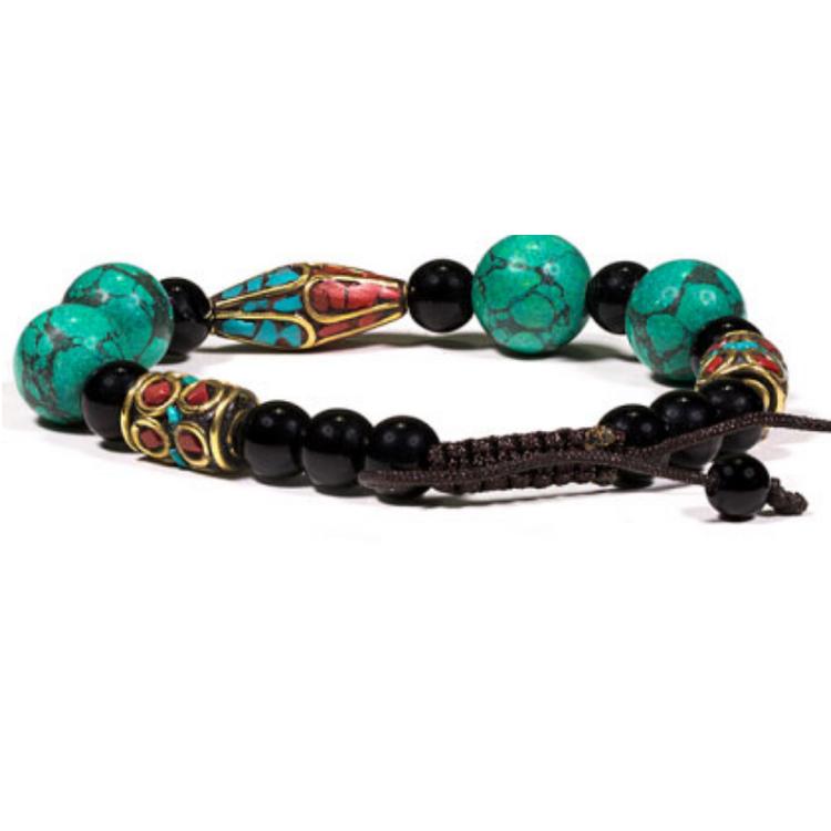 Armband - turkos, svart onyx och korall