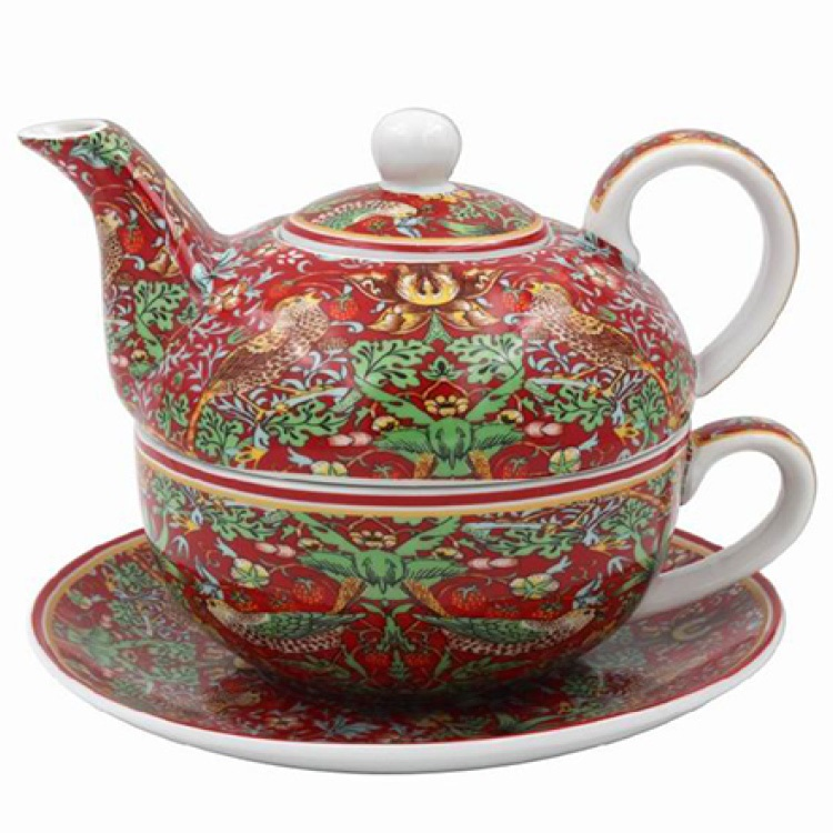 William Morris Red Strawberry Thief - Tea For One