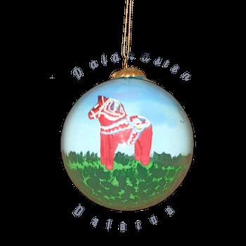 Handmålad julkula Dalahäst