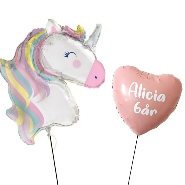 XL Unicorn+Personlig ballong