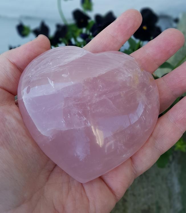 Rosenkvarts hjerte 10 cm