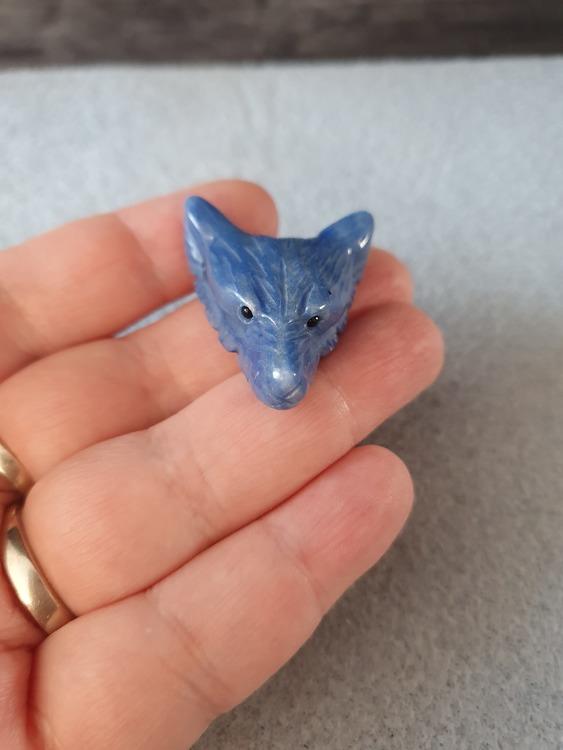 Blå aventurin ulvehode