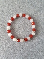 Hvit jade og rød agat med rhinestones