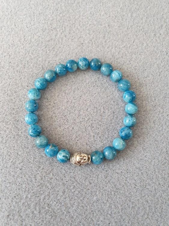Blå apatitt med buddha charms