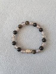 Gull obsidian og grå agat