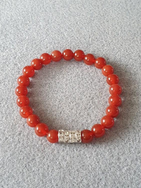 Rød agat med rhinestones