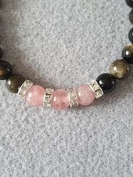 Gull obsidian med rosenkvarts og rhinestones