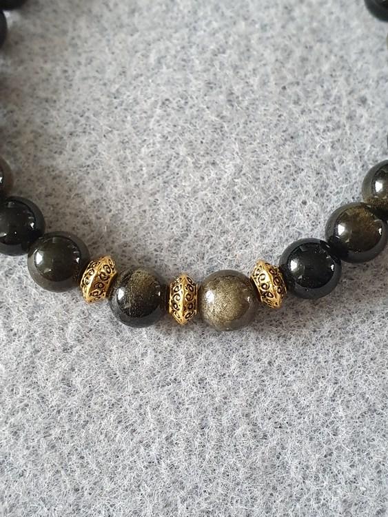 Gull obsidian med gullbelagte skilleperler