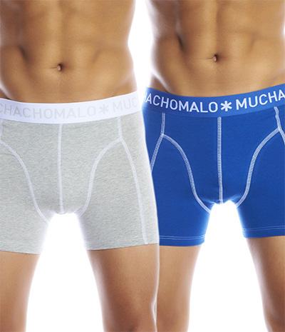 Muchachomalo kalsonger Män 2 pack Solid Boxer Grey/Blue