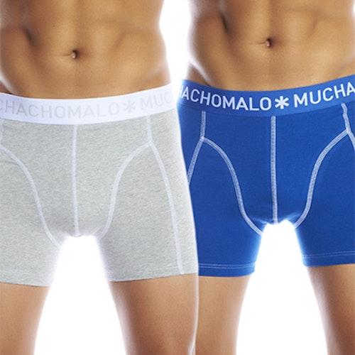 Muchachomalo Män 2 pack Solid Boxer Grey/Blue