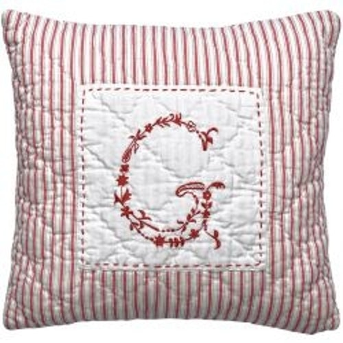 Greengate Cushion G red embrodery