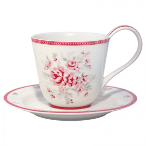 Greengate Cup & Saucer Flora white