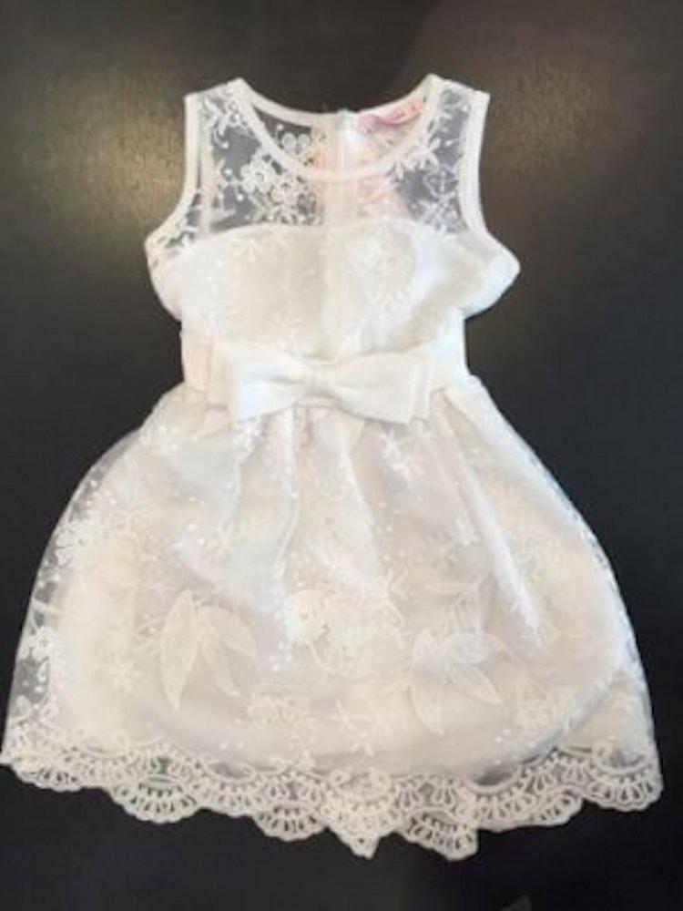 Barnklänning näbbklänning vit