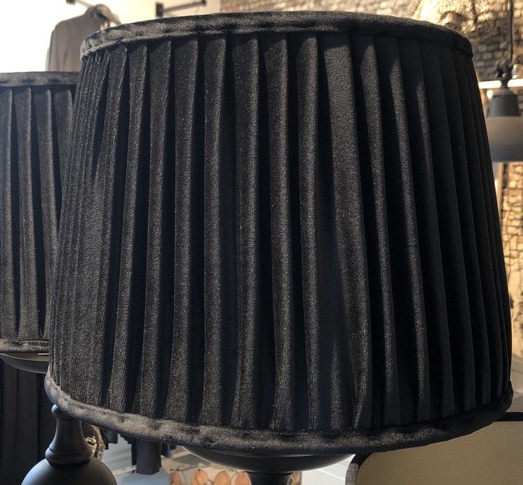 Lampskärm veckad sammet svart