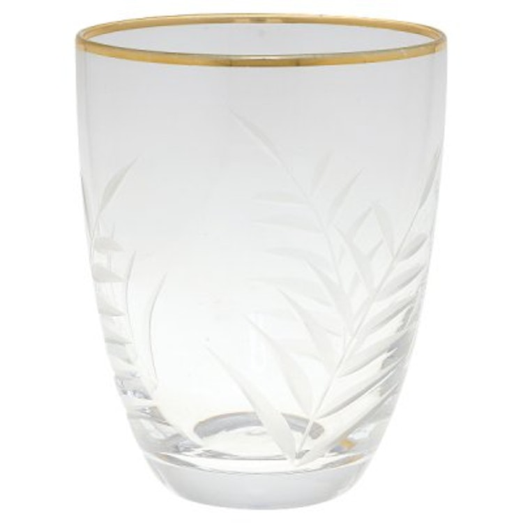 Greengate Water Glass with cutting and gold
