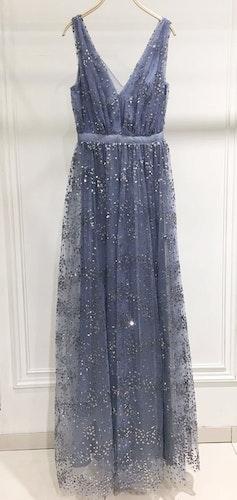 Glitterklänning blågrå