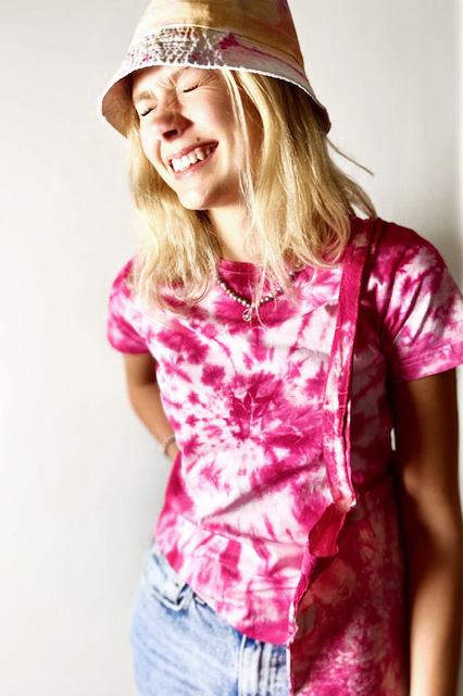 T-shirt & bag batik Rosa-röd