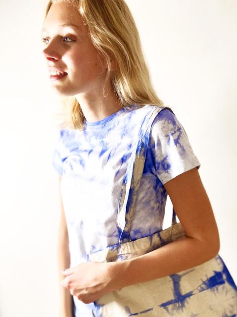 T-shirt & bag batik blå