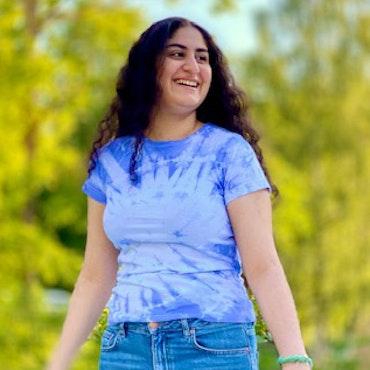 Blå batik t-shirt dam