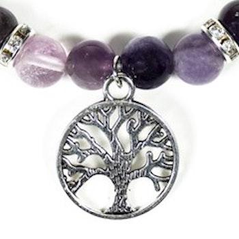 Elastiskt armband av fluorit och ametist, med livets träd.