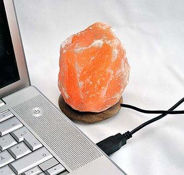 Saltkristall lampa med usb-utgång