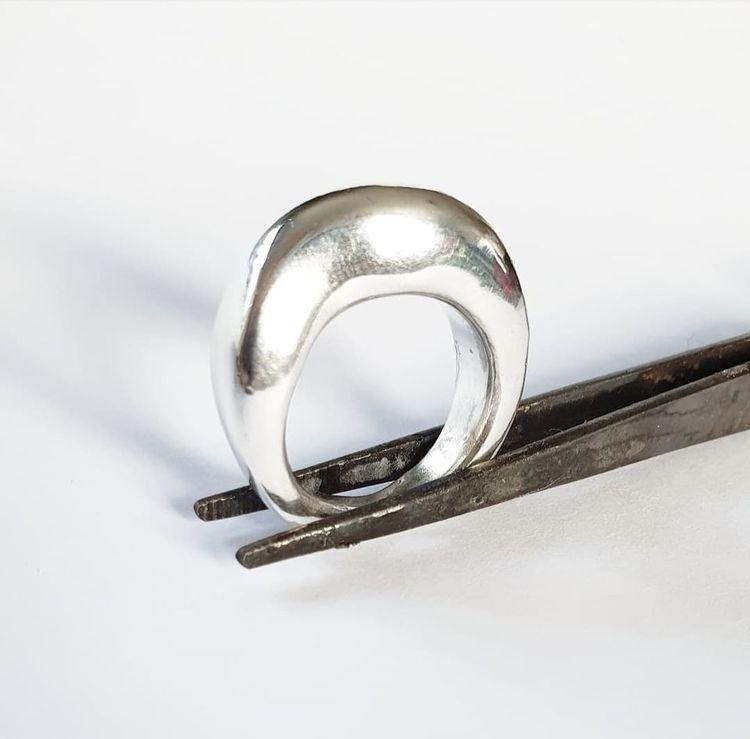 Vågig chunky silverring