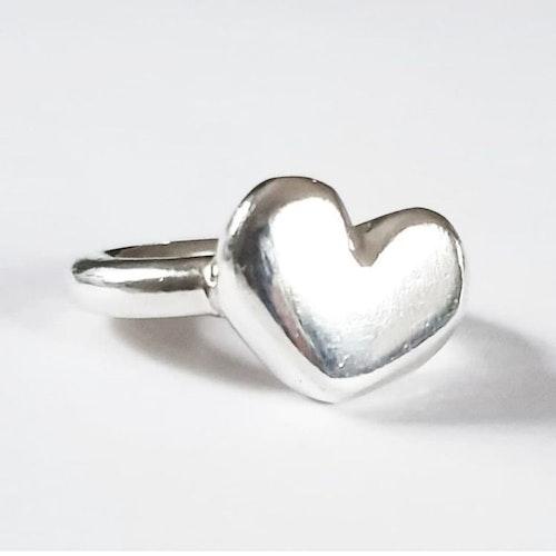 Chunky bulligt hjärta i silver