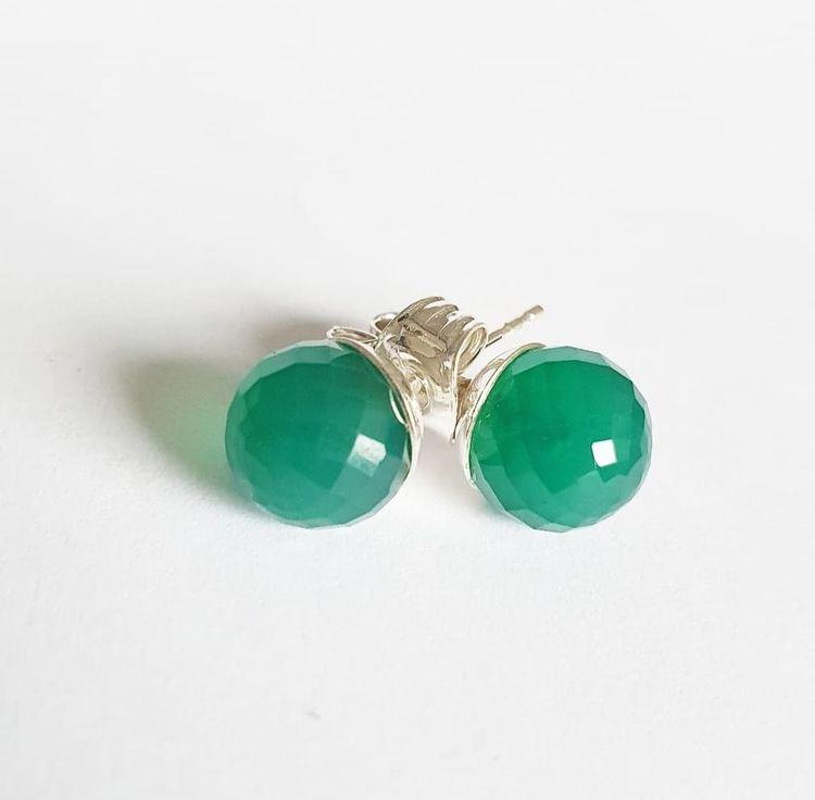Örhänge grön agat - facetterad