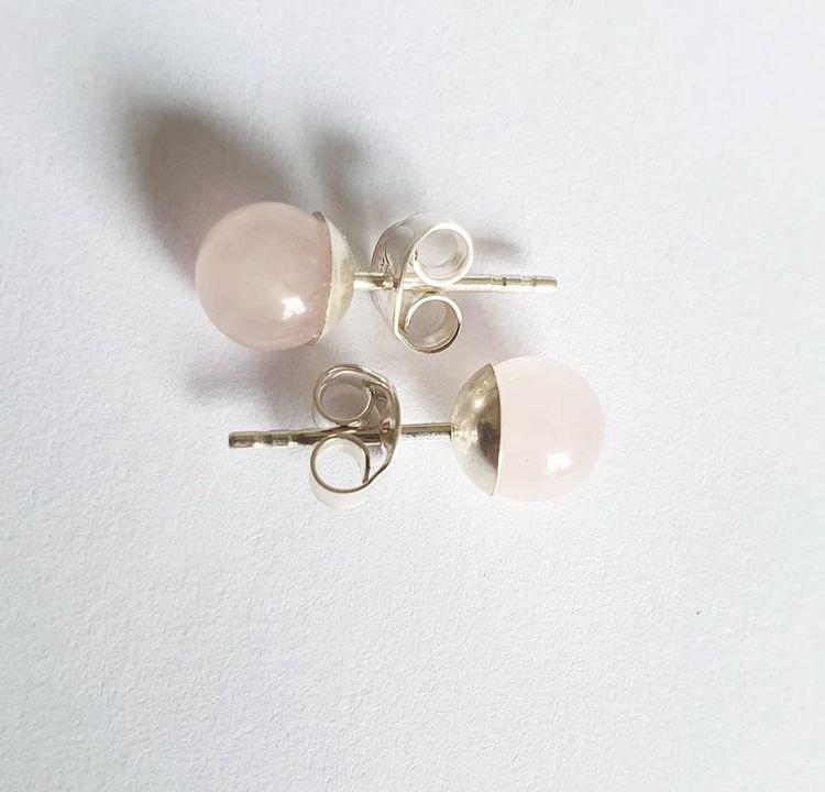 Örhänge med rosenkvarts - små