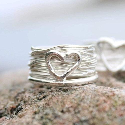 Bred hjärtansring - silver