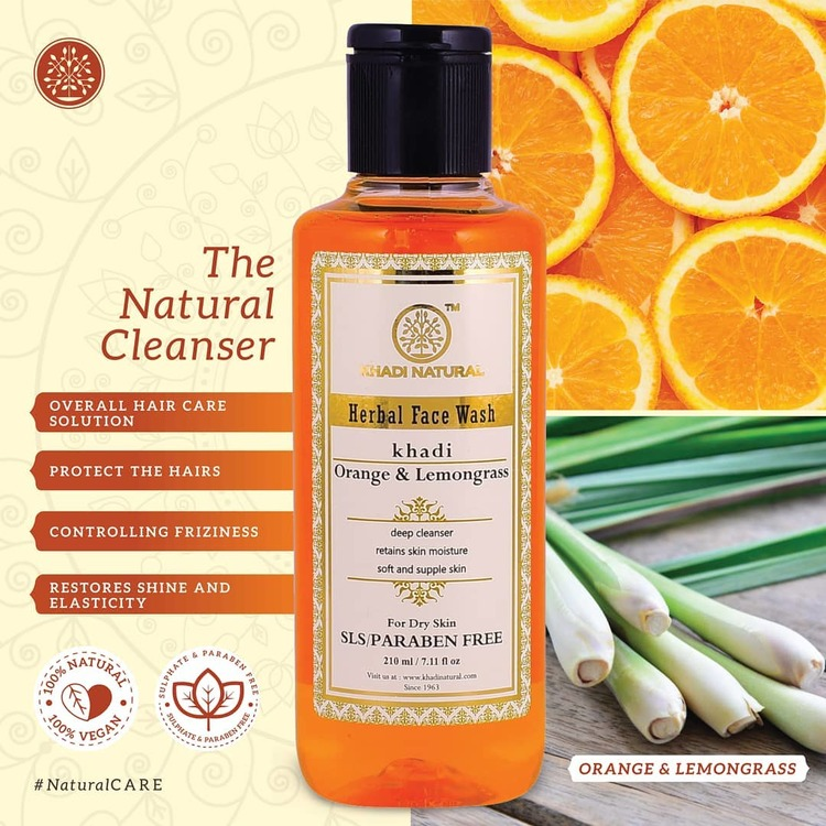 Ansiktsrengöring Khadi natural herbal faceWash Orange&Lemongrass 210 ml