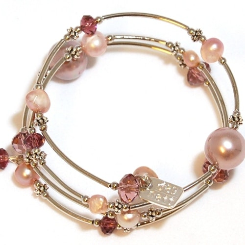 Smycken Wire armband pärlemor/rosa