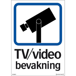 Skylt TV / Video bevakning - A4 skylt Enkelsidig