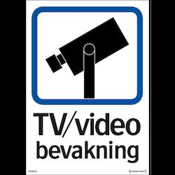 Dekal TV / Video bevakning - A5 dekal Enkelsidig