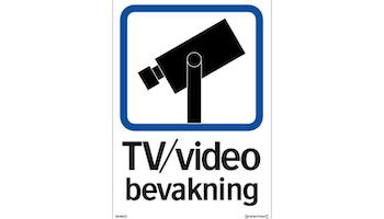 Dekal TV / Video bevakning - A5 dekal Enkelsidig