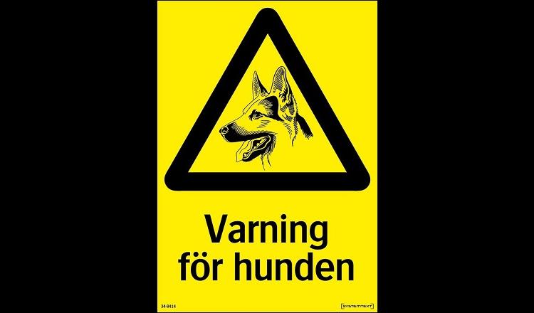 Skylt varning för hunden