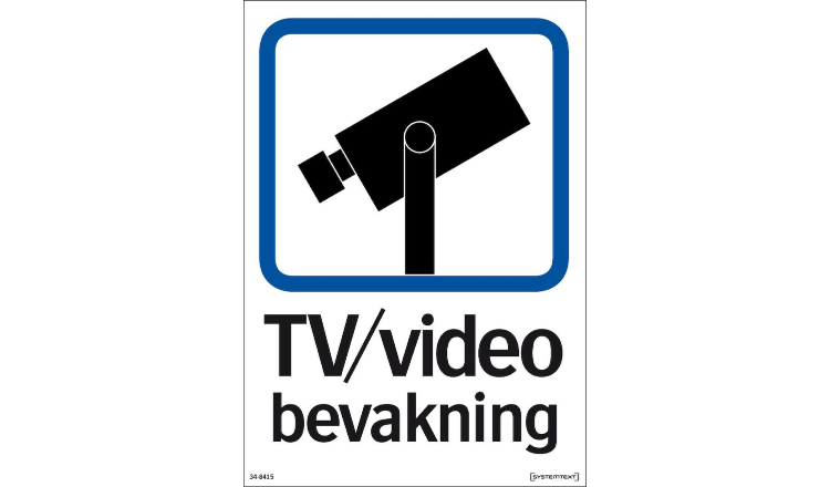 Dekal TV / Video bevakning - A5 dekal Dubbelsidig