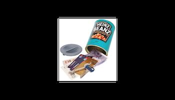 Kassaskåp / gömställe konservburk