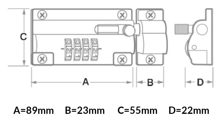 Förrådslås grindlås, skjutregel med kodlås, kombinationslås