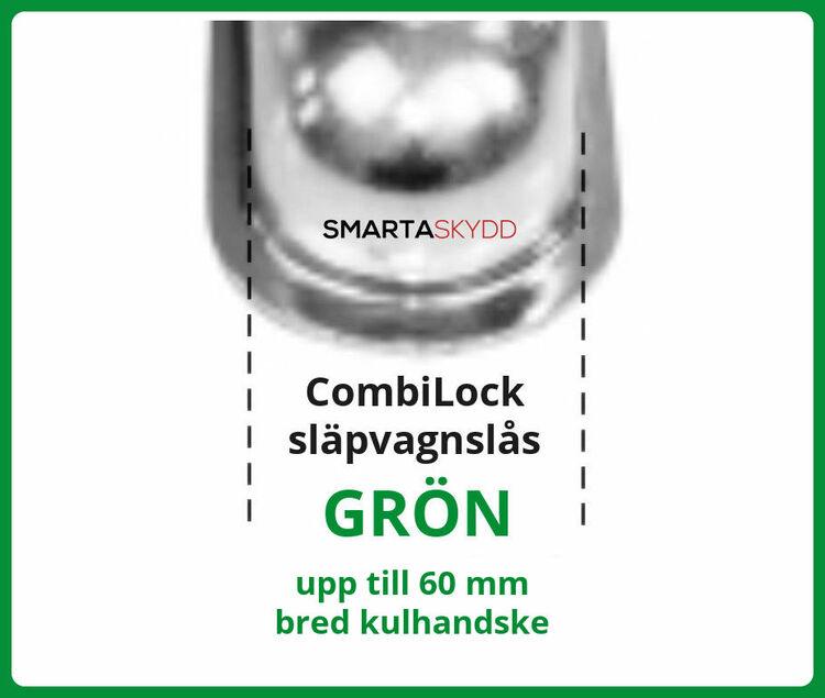 CombiLock, fri frakt, ssf godkänt släpvagnslås - GRÖN 60mm - Klass 3