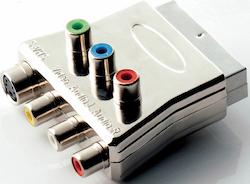 Scart-komponent adapter med ljud