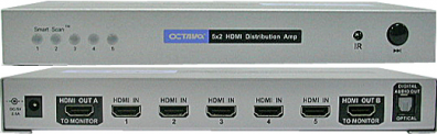 Octava HDDA52 V1.3 HDMI Switch 5 in 2 ut toslink ut