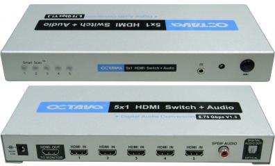 HDDA51 HDMI Switch / växel 5:1 v1.3 ljud ut
