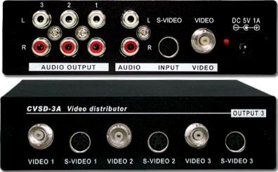 CVSD-3A Komposit / S-VHS spiltter med ljud