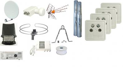 Villapaket antenn / parabol 4 dubbeluttag