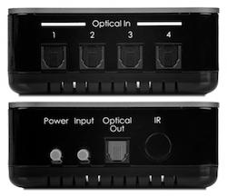 Optisk Toslink Switch 4:1 med fjärrkontroll