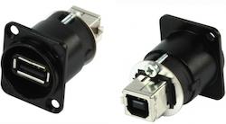Panelkontakt USB A hona-USB B hane SVART