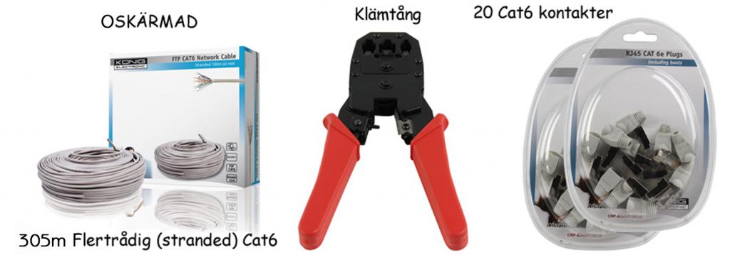 König Cat6 Oskärmad 305m Flertråd, 20 kontakter + tång