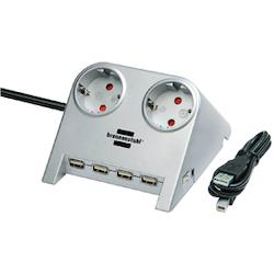 Grenkontakt med 2 uttag + USB-Hub 4x uttag