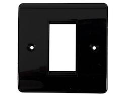 Ram för 1 modul svart rundad kant